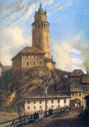 Lazebnický most a zámecká věž v Českém Krumlově na Runkově malbě z roku 1819