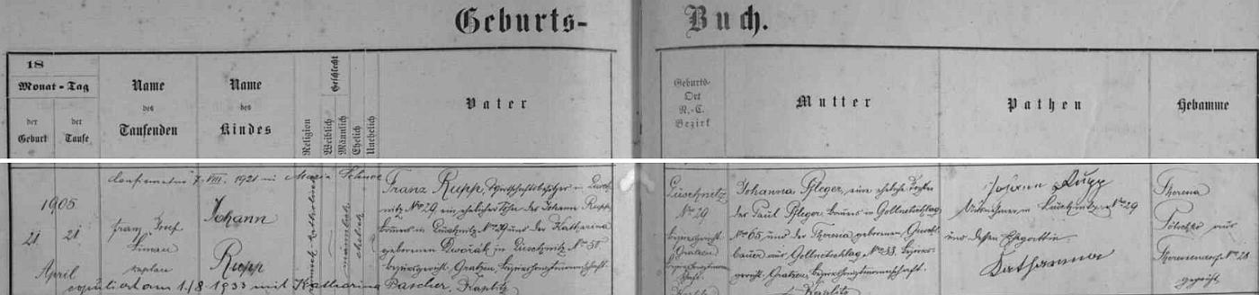 Záznam o jeho narození v křestní matrice farní obce Terčí Ves (dnes Pohorská Ves)