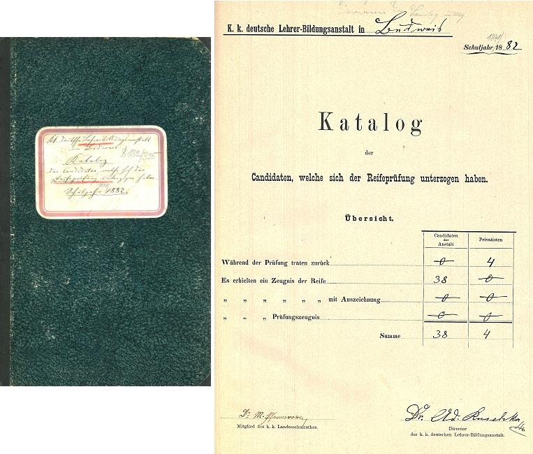 Maturitní protokol německého učitelského ústavu v Českých Budějovicích za školní rok 1881/1882
