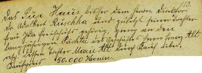 Záznam o prodeji domu v Rychnově nad Malší, patřícího jemu a pak jeho dceři Idě, v rychnovské kronice roku 1932