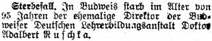 Jeho smrt krátce zaznamenal i renomovaný německý list Prager Tagblatt