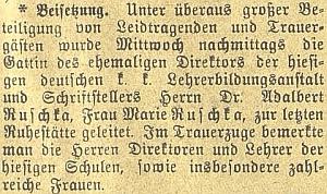 Zpráva o pohřbu jeho ženy v únoru 1904 na stránkách českobudějovického německého listu