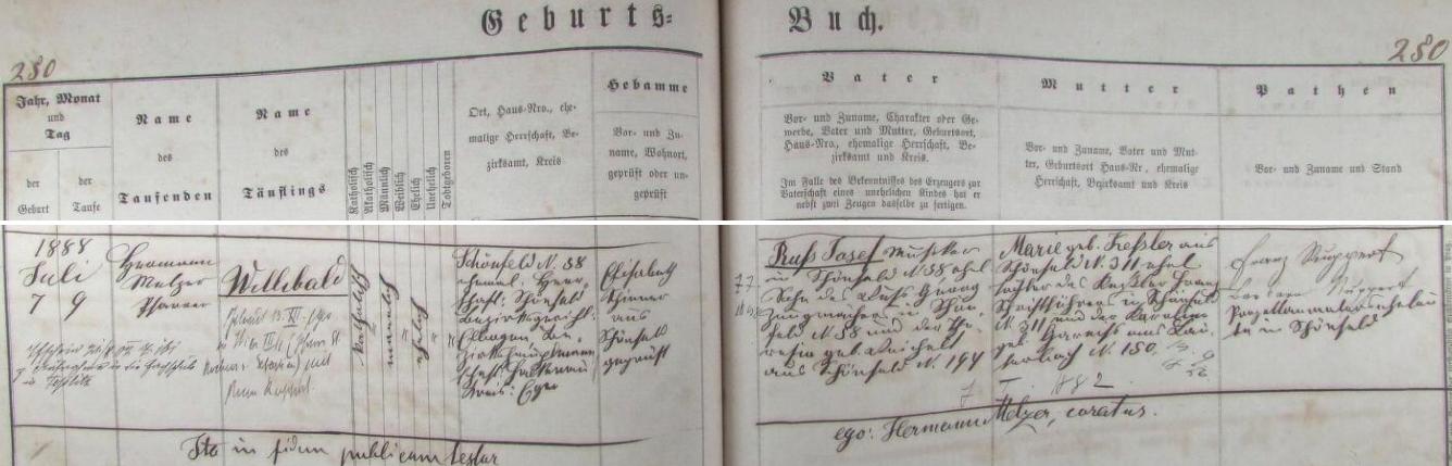 Záznam o jeho narození v schönfeldské křestní matrice