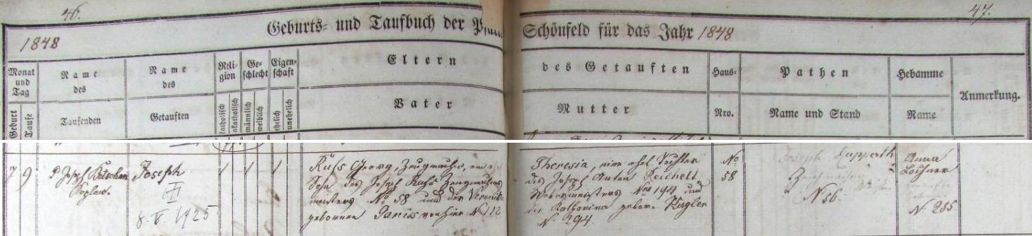 Záznam o narození otce v schönfeldské křestní matrice i s dodatečným přípisem o datu jeho úmrtí