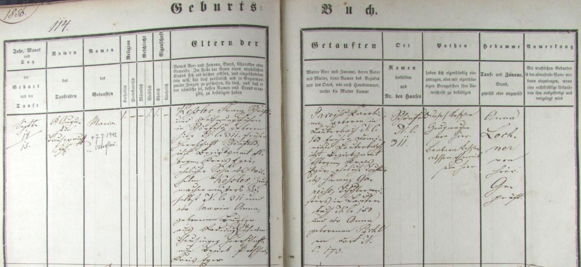 Záznam o narození matky v schönfeldské křestní matrice i s dodatečným přípisem o jejím úmrtí ve Staré Roli