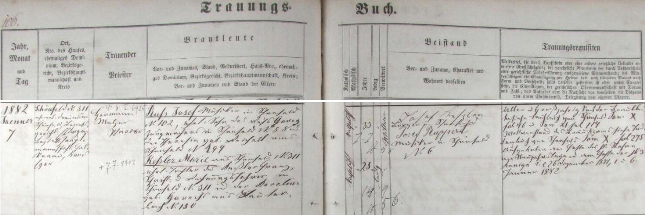 Záznam o svatbě rodičů v schönfeldské oddací matrice