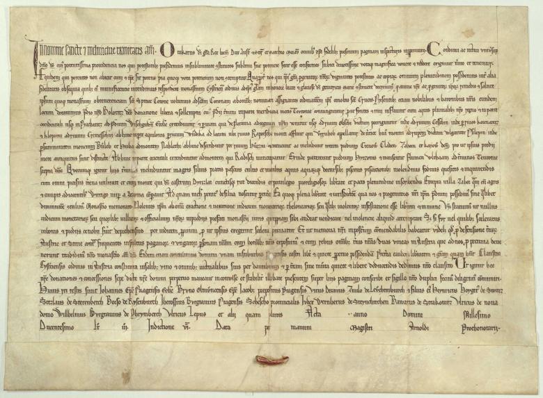 Zakládací listina kláštera Zlatá Koruna, vydaná českým králem Přemyslem Otakarem II roku 1263