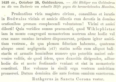 """Tímto latinským listem prosí opat Budějovické o rychlou pomoc proti přitáhnuvším husitům (nazývá je """"viklefisty"""")"""