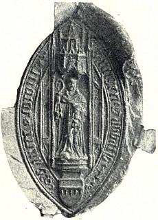 Pečeť opata Rutgera z roku 1436 uchovaná v ústředním schwarzenberském archivu vČeském Krumlově