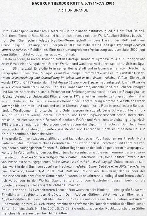 V ročence lineckého Institutu Adalberta Stiftera bylo vzpomenuto jeho úmrtí textem, který napsal Arthur Brande
