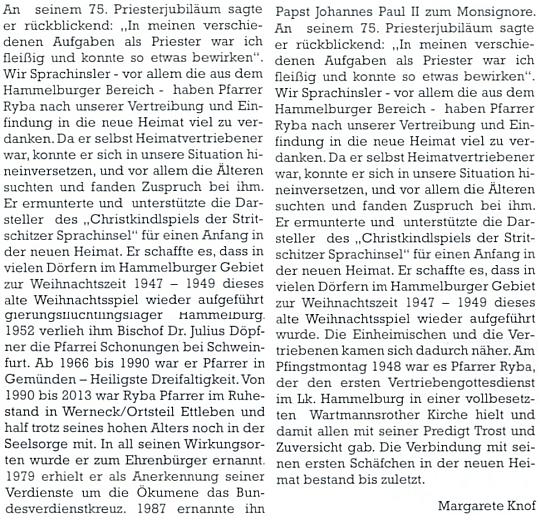 Margarete Knofová je i autorkou jeho nekrologu v krajanském měsíčníku