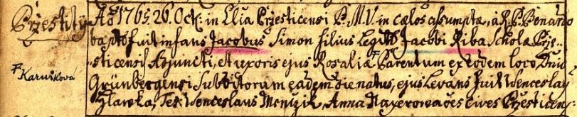 Záznam přeštické křestní matriky o jeho zdejším narození