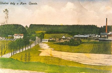 Lignitové doly u Kamenného Újezda na staré pohlednici...