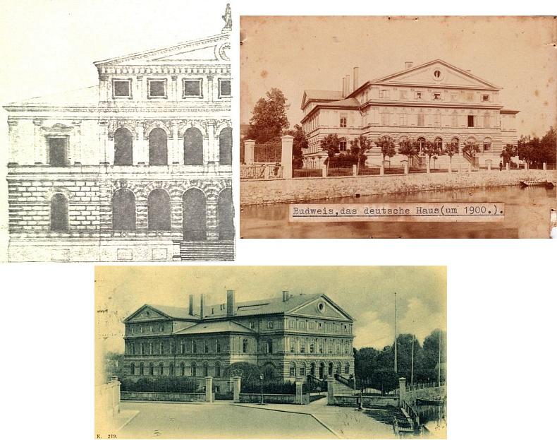 Původní Ullmannův nákres průčelí Německého domu v Českých Budějovicích a jeho realizace z let 1871-1872 (viz i Günther Konrad Meerwald)