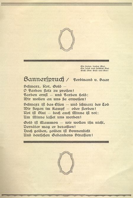 """Jeho báseň o německých """"vlajkových barvách"""" našla místo ve sborníku k 50. jubileu českokrumlovského Turnvereinu (1874-1924)"""