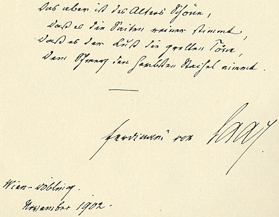 Rukopis veršů s podpisem