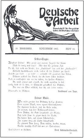 """Záhlaví a stránka """"stifterovského"""" čísla měsíčníku Deutsche Arbeit z roku 1905 s jeho básní"""