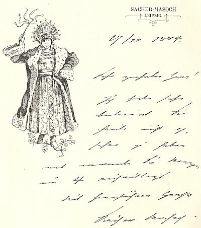 Jeho dopis z října roku 1894 skladateli Alfredu Strossovi