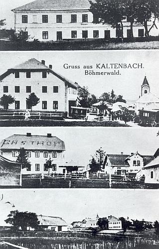 """Na pohlednici """"z Kaltenbachu"""" je Sagerův """"Gasthof"""" ještě v roce 1934 s nápisem na střeše a poutními stánky i kolotočem před sebou"""