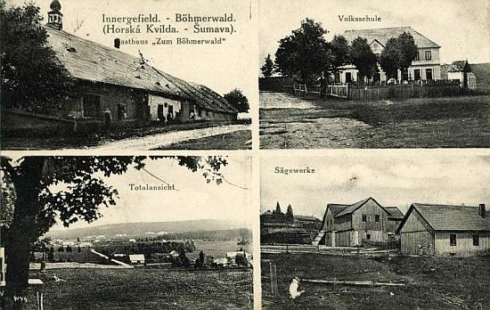 Pohlednice z Horské Kvildy zachycuje i místní školu