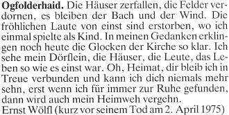 O tom, jak nesnadné je někdy dohledat pravého autora, svědčí tento otisk básně Jablonec přiřčené tu Ernstu Wölflovi, zesnulému 2. dubna roku 1975, kdy verše údajně krátce před svým skonem stačil napsat