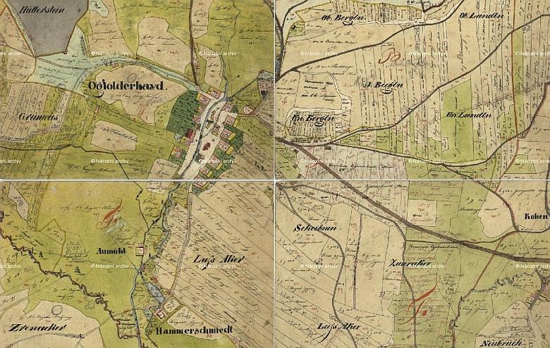 Okolí Jablonce s pomístními jmény na mapě Stabilního katastru Čech (1824-1843)