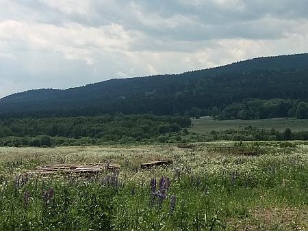 Na snímku vlevo je místo, kde v Jablonci stával kostel, vpravo je vidět současný mostek přes Loutecký potok