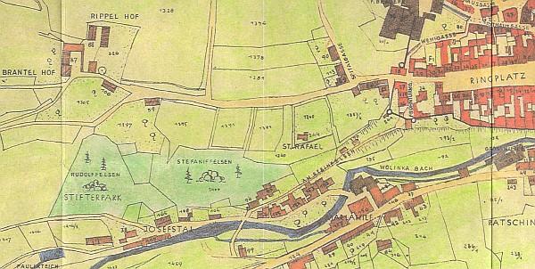 Stifterův park u Vimperka na výseči plánu města z roku 1923