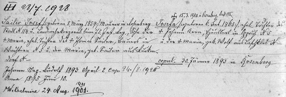 """Záznam o rodině Sailerových (jeho otec, matka, on a sestry Anna a Wilhelmine) v """"rodovém katastru"""" města Rožmberk nad Vltavou..."""