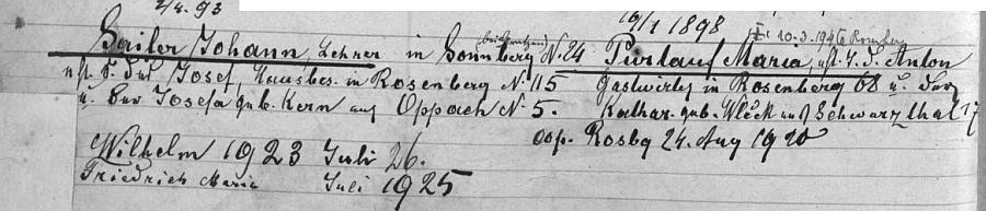 ... a záznam o něm, jeho ženě a dvou dětech (Herbert tu ještě zapsán není)