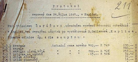 Úvod dokumentu s celkem 62 položkami, zaznamenávajícího osud majetku Sailerových v Kaplici