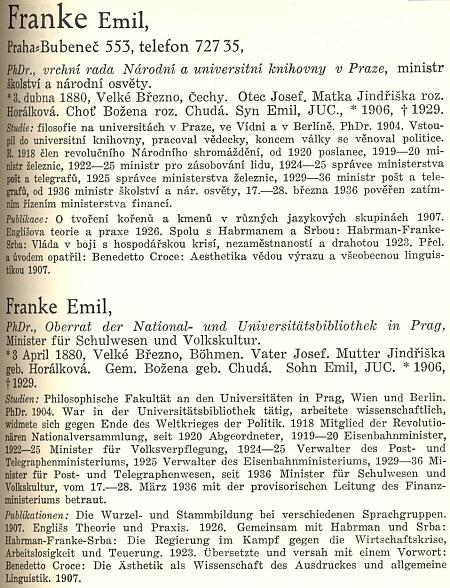 Heslo Emil Franke v biografické kartotéce Československo z druhé půle třicátých let