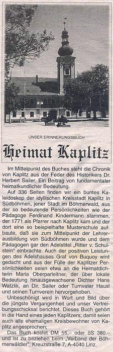 Inzerát (1998) rakouského vydání jeho rodácké knihy