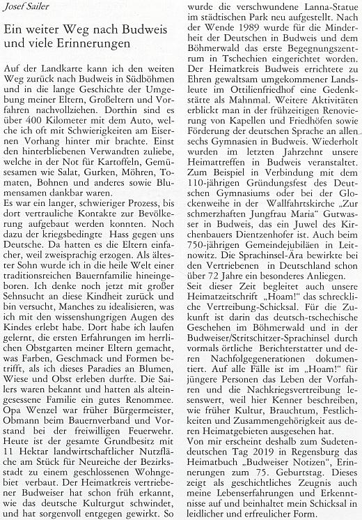 """Komentář ke knize """"Budweiser Notizen"""" v krajanském měsíčníku"""