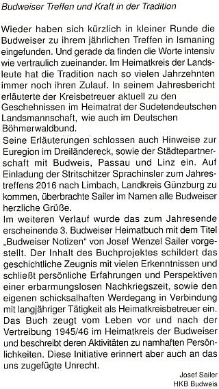 """Tady se rozepsal i o svém projektu """"třetí"""" budějovické """"Heimatbuch"""", která má pod titulem """"Budweiser Notizen"""" vyjít koncem roku 2016"""