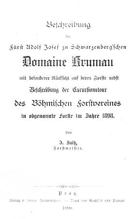 Titulní list (1898) jeho popisu schwarzenberského krumlovského panství