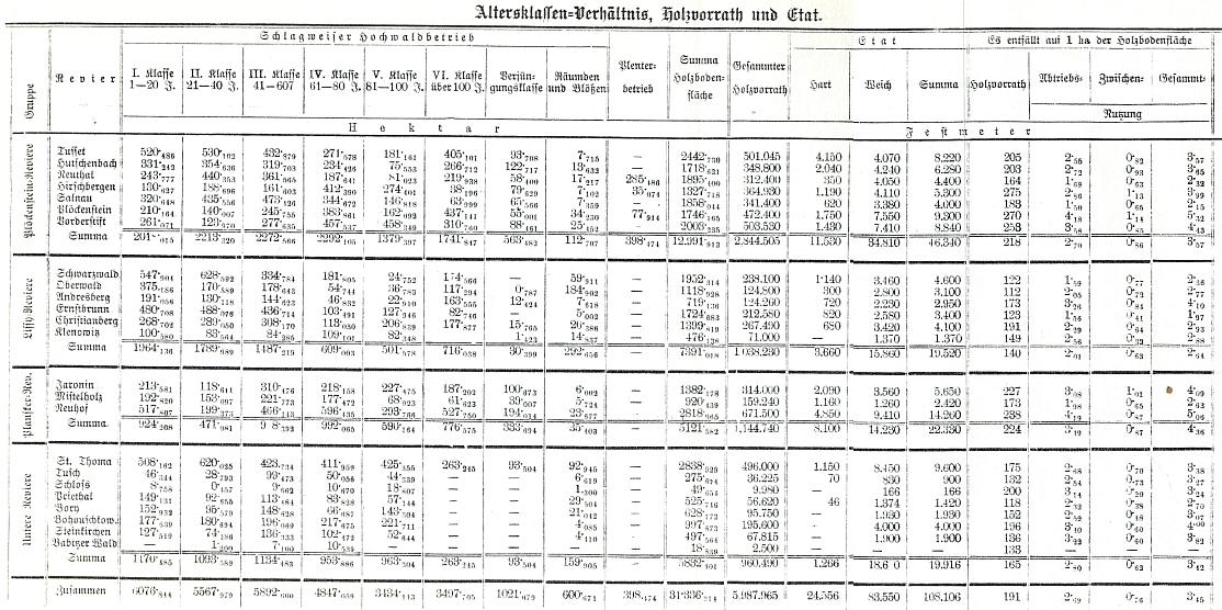 Tabulka, doprovázející jeho popis krumlovského panství, zachycuje zásoby dřeva ve zdejších knížecích revírech