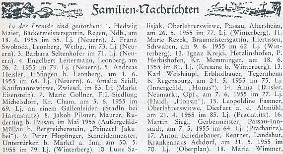 """Zpráva o úmrtí jeho ženy (č. 10) na stránkách krajanského měsíčníku, podle nějž byl v roce 1955 Pasov ještě """"cizinou"""" a Vimperk """"domovem"""""""