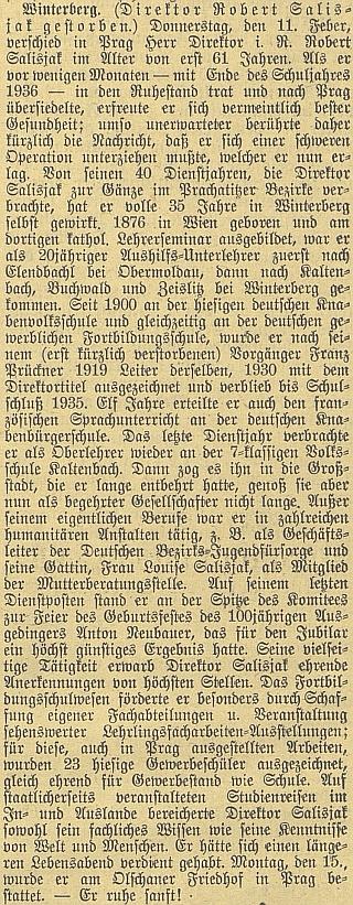 Nekrolog na stránkách Budweiser Zeitung