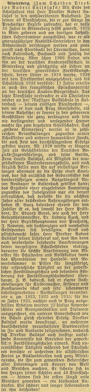 Obsáhlý text českobudějovického německého listu k jeho odchodu do penze