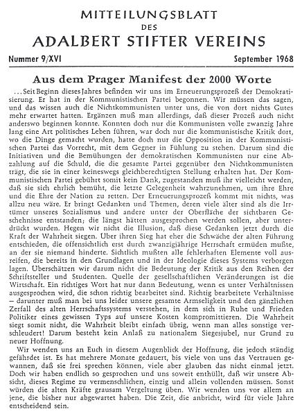 """V září 1968 zveřejnil oběžník ASV obsáhlý výtah z manifestu """"2000 slov"""""""