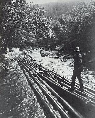Jiný záběr vorů na horském potoce vbuquoyském Horním hvozdu