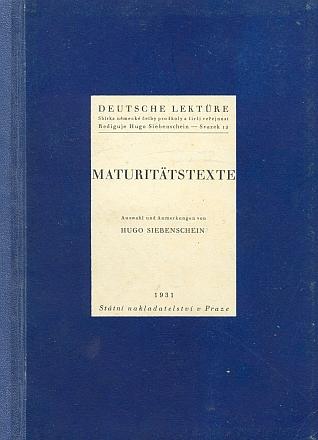 """Německé Maturitní texty (1931) ve výběru a spoznámkami Hugo Siebenscheina zahrnují i Salusovu báseň pod názvem AntonínDvořák, vedle mnoha jiných pak i texty Rilkeovy, Hofmannsthalovy, Leppinovy atd. - to vše v edici """"německé četby pro školy a širší veřejnost"""", vydávané Státním nakladatelstvím vPraze"""