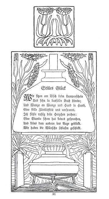 Secesní orámování textů jeho básní Tiché štěstí a Šípková Růženka ze sbírky Ehefrühling (1900)