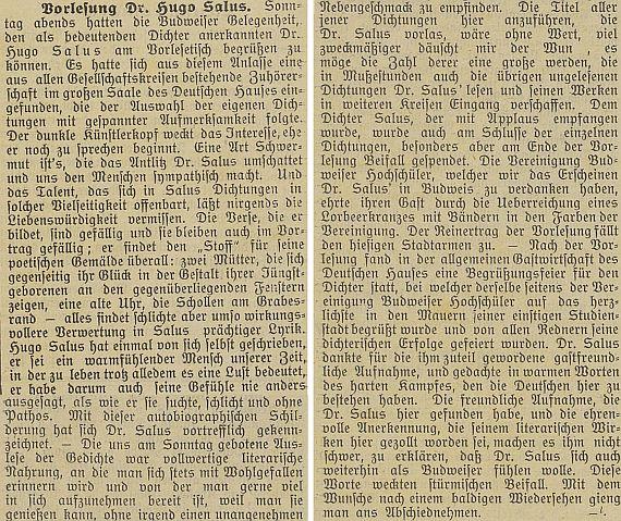 """Při českobudějovické přednášce v neděli 29. prosince 1907 v německém domě podle zprávy místního německého listu """"vzpomněl vřelými slovy tuhého zápasu, v němž je tu Němcům obstát"""" a """"nebylo mu pro vlídné přijetí a úctyplné uznání, projevené tu jeho literárnímu dílu, nijak zatěžko prohlásit, že se i nadále hodlá cítit jako"""