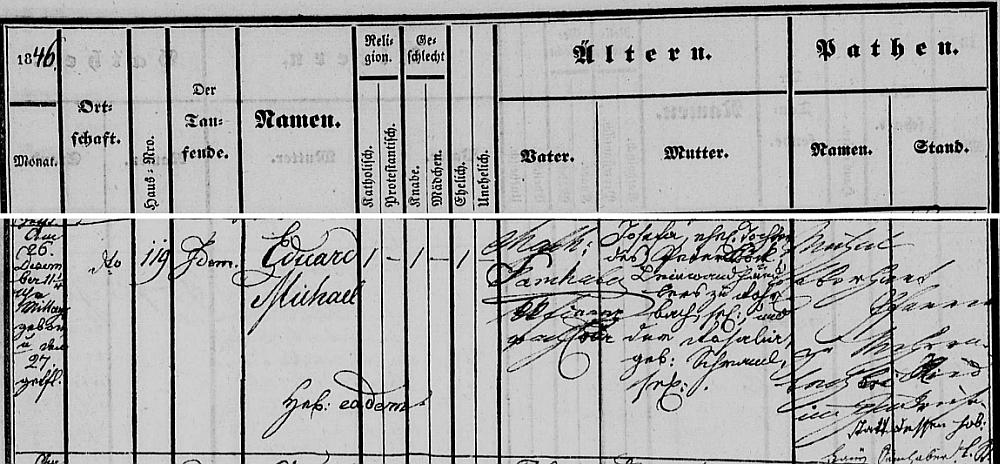 Záznam o jeho narození ve freistadské křestní matrice