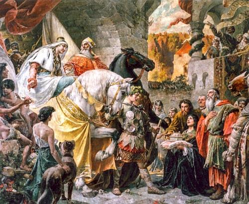 Monumentální malba Ferdinanda Wagnera (1819-1881) v radničním sále města Pasova znázorňuje přijetí burgundské královny Krimhildy biskupem Pilgrimem a oživuje tak postavy a děje Písně o Nibelunzích