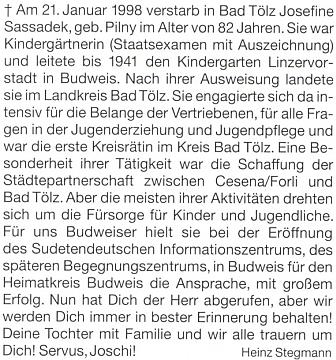 Nekrolog v krajanském měsíčníku, jak ho napsal Heinz Stegmann