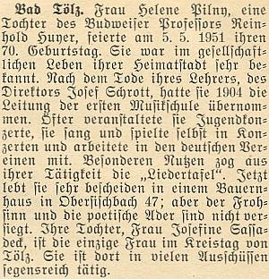K sedmdesátinám její matky Heleny, dcery profesora Reinholda Huyera, vyšel i s připomenutím Josefininy činorodé práce v Bad Tölz na stránkách krajanského měsíčníku tento text