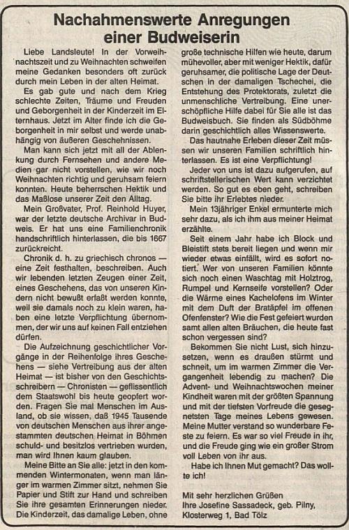 Její text v posledním čísle roku 1986 listu rakouského krajanského sdružení